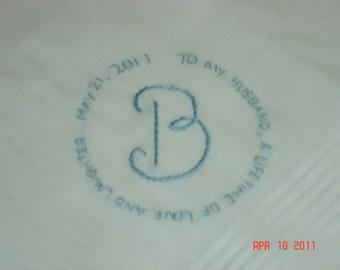Wedding handkerchief/groom handkerchief/message in a circle/monogram/wedding colors welcome/love note to groom/ON SALE