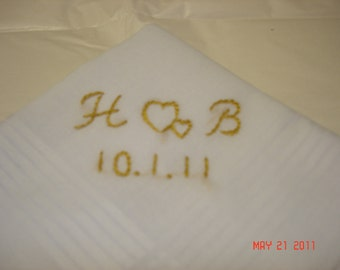 For staceyWedding handkerchief/groo anky/wedding colors welcome/hand embroidered/monogram and date, man's hanky, hankerchief, bride to groom