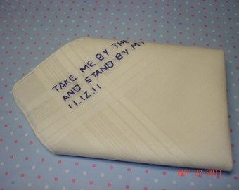 Groom handkerchief/Pocket Square Love Note to Groom /IVORY HANKY/ hand embroidered/in your own words