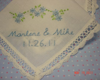 Wedding handkerchief, something blue, bouquet wrap, hand embroidered, names and dates, wedding colors welcome, monogram