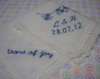 Something blue wedding handkerchief, hand embroidered, monogram, personalized, bouquet wrap, wedding colors welcome