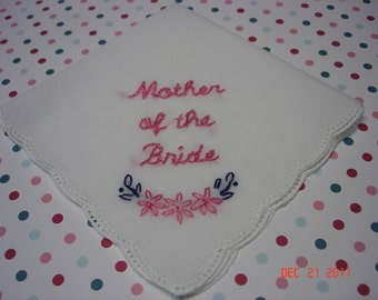 Mother of bride/mother of groom/ wedding handkerchief/hand embroidered/SET OF TWO//picot edged/wedding colors welcome