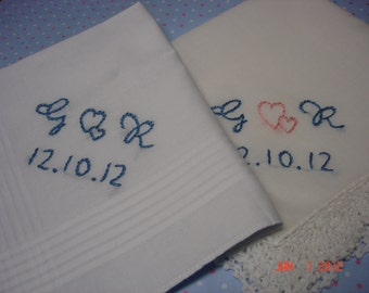 wedding handkerchief, bride and groom set, something blue, monogram,intertwined hearts, wedding colors welcome, hand embroidered