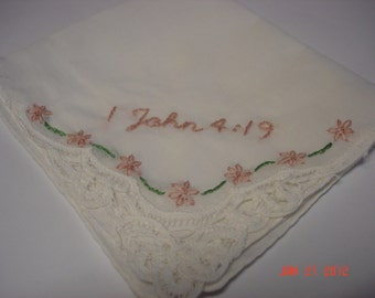 Wedding handkerchief, Bible verse reference, scripture handkerchief, hand embroidered,battenburg lace, wedding colors welcome