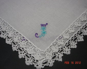 Wedding handkerchief, bridesmaid hanky,initial only,flower girl hanky, monogrammed,hand embroidered, colors welcome, flower-tipped hanky
