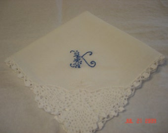 Wedding Handkerchief, something blue, hand embroidered, pineapple lace , bouquet wrap, bridal gift, wedding colors welcome