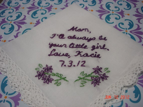 Wedding handkerchief, mother of bride, hand embroidered, flowers, bridal gift,dk purple, wedding colors welcome