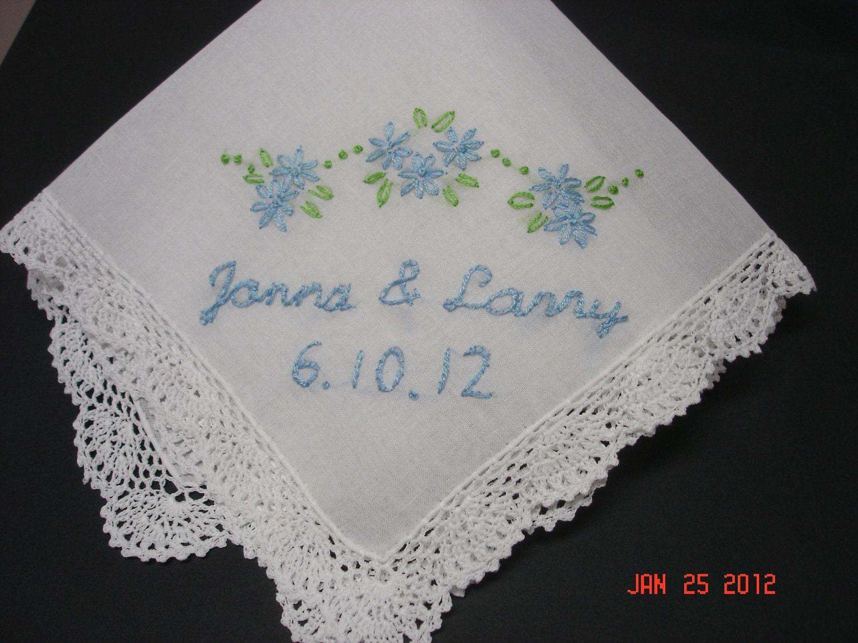 Something Blue Wedding Handkerchief Hand Embroidered Bouquet