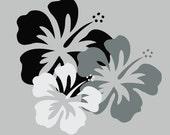 hibiscus trio - vinyl wall design