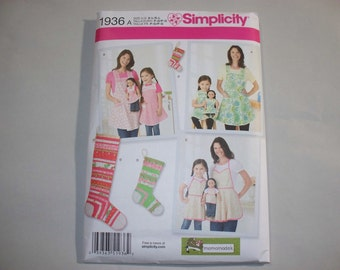 New Simplicity Apron Pattern 1936A, Mommy, Me and Dollie (Free US Shipping)