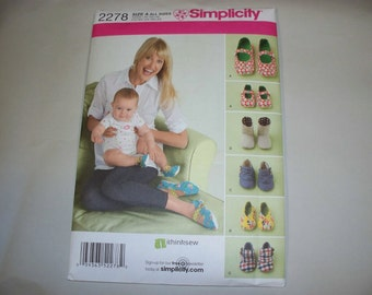 New Simplicity Fabric Shoes Pattern 2278, Mommy and Me. (Free US Shipping)