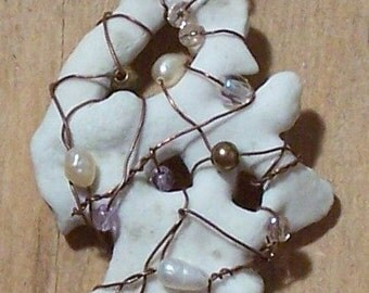 Pearl & Wire-Wrapped White Coral Pendant/Necklace