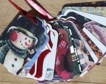 Upcycled Holiday Gift Tags - Snowmen and Santas