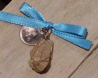 Handmade Wire-Wrapped Beach Stone Pendant
