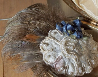 Feather Fascinator - Natural Feathers & Vintage Lace