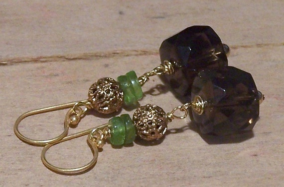 SALE Faceted Smoky Quartz and Peridot Earrings