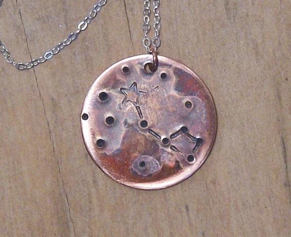 Bowl of Stars - Handstamped Constellation Necklace - Polaris