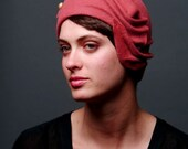 Pink cloche hat with vintage button- made to order
