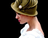 Olive Cloche with Vintage Button - olive green cloche