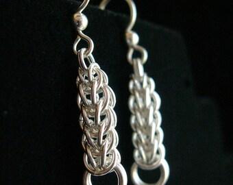 Silver Woven Droplet Earrings