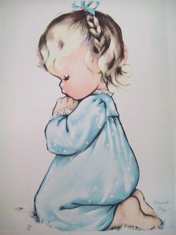Vintage Charlot Byj Litho A Child S Prayer By Magnoliavintage