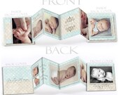 Baby Boy Photo Book - PARKER ELLIOT - Photoshop Templates for Photographers 3x3 Accordion Mini Book (10) Customizable Panels + Cover Design.