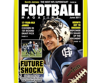 Photoshop Template | Sports Design | 8x10 | FOOTBALL Magazine Cover - (1) Digital Template for Photographers & Scrapbookers.