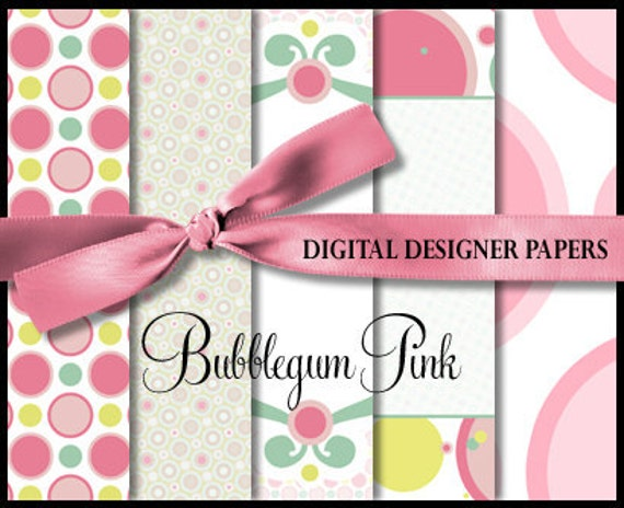 Digital Papers - BUBBLE GUM PINK - 12x12 Expertly Designed Photography and Scrapbooking Backdrops.