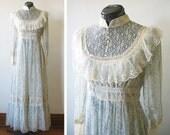 vintage 70s light blue and cream gunne sax lace floral maxi dress