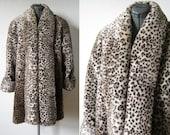 25% SUMMER SALE vintage 70s 80s leopard print faux fur coat