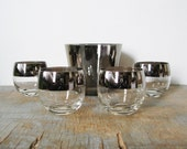 SPRING SALE vintage 60s silver poly poly cocktail tumblers and ice bucket