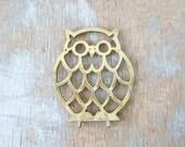 25% SUMMER SALE vintage 70s brass owl trivet