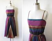 70s sundress vintage chevron boho purple black