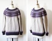 vintage fair isle sweater / nordic / purple and gray