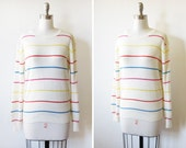 30% OFF SALE vintage 80s rainbow striped sweater