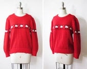 SALE vintage 70s red sheep sweater