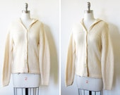 vintage cream cardigan / 60s hooded sweater
