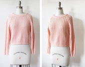 vintage 80s cropped sweater / peach ribbed knit pullover