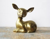 large vintage brass deer figurine