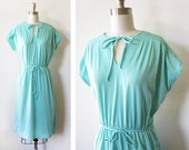 LUCKY SALE vintage aqua dress / 80s keyhole bowtie dress / cap sleeve