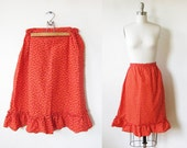 70 calico skirt / 1970s orange boho skirt