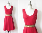 1970s red dress / vintage berry red sundress