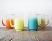 vintage frosted blendo mugs / 1960s sunshine mugs