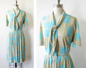 1960s mod dress / vintage 60s gray aqua day dress / mid century shirtwaist dress with full skirt