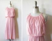 1970s pink dress / 70s grecian sundress