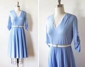 vintage 70s skater dress / 1970s periwinkle blue day dress / pleated full skirt