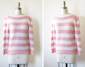 80s striped sweater / pink and white knit pullover