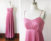 RESERVED until 12/9 1970s dress / vintage 70s pink maxi dress / vintage pleated grecian dress