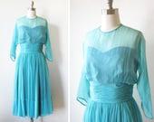 1950s chiffon dress / vintage 50s aqua blue chiffon party dress