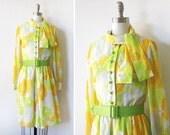 RESERVED 1960s yellow floral dress / 60s flower power dress / butterflies garden party dress